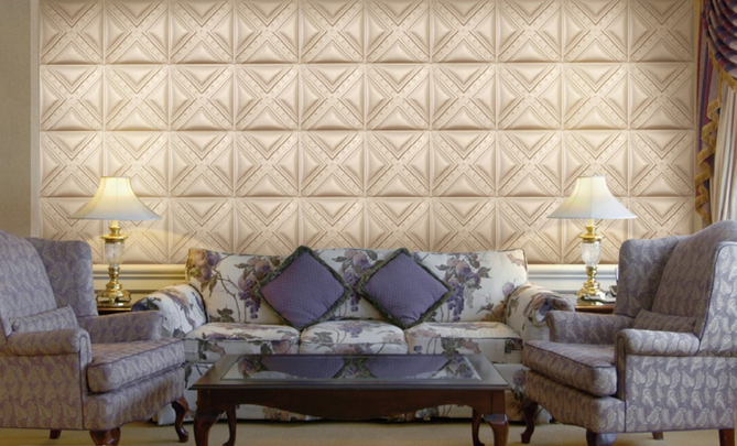 Customized PC Silver 3D Leather Wall Panels Living Room Background