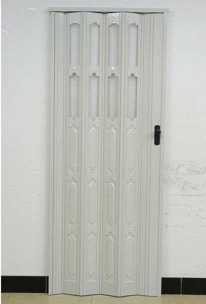 Double Layer Panel PVC Folding Door 110mm Width Accordion Door With Lock ผู้ผลิต